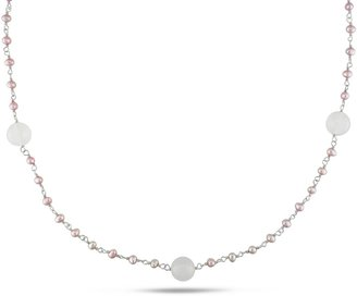 Ice.com Pink Freshwater Pearl and White Agate Sterling Silver Necklace