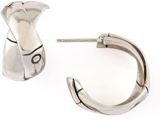 John Hardy Bamboo Silver J-Hoop Earrings