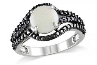 Ice 1/10 CT Black Diamond TW and 1 1/4 CT TGW Opal Black Rhodium Plated Ring