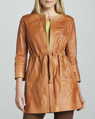 Lafayette 148 New York Studio 148 by Drawstring-Waist Leather Jacket