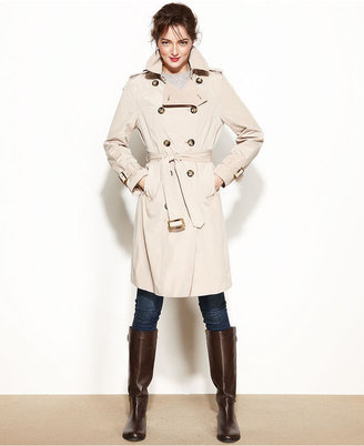 London Fog Double-Breasted Belted Trench Coat