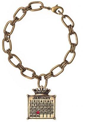Brasstone Personalized Calendar Crown Charm Bracelet