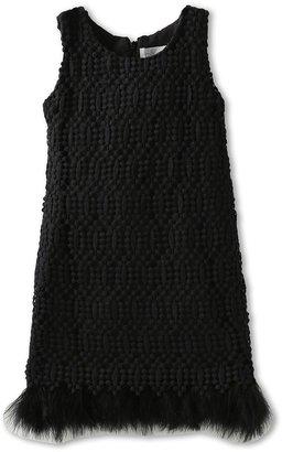 Us Angels Lace Overlay With Maribou Trim (Big Kids) (Black) Girl's Dress