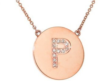 Jennifer Meyer Diamond Letter Necklace - P - Rose Gold