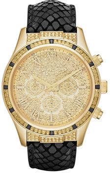 Michael Kors Mid-Size Black Leather Layton Glitz Watch
