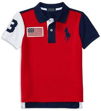 Ralph Lauren Childrenswear Boys' Big Pony American Flag Patch Polo - Little Kid