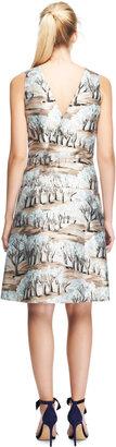Marni Printed Satin-Twill V-Back Dress