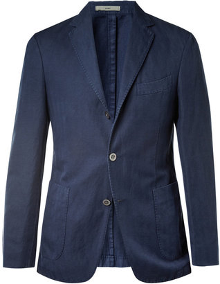 Boglioli Slim-Fit Unstructured Herringbone Cotton and Linen-Blend Blazer
