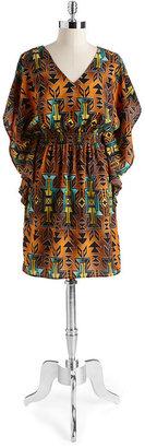 Oleg Cassini Batwing Aztec Print Dress