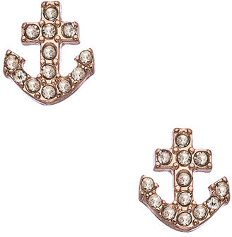 Blu Bijoux Rose Gold and Crystal Anchor Earrings