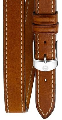 Women's Michele 18Mm Leather Double Wrap Watch Strap $100 thestylecure.com