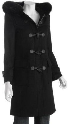 KORS black wool toggle front hooded coat