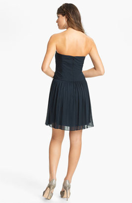 Max & Cleo Strapless Mesh Fit & Flare Dress