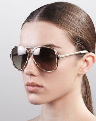 Marc Jacobs Oversized Aviator Sunglasses, Sand Striated