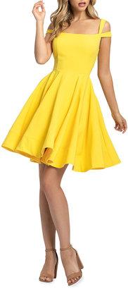 Mac Duggal Square-Neck Double-Strap Mini Fit-&-Flare Dress