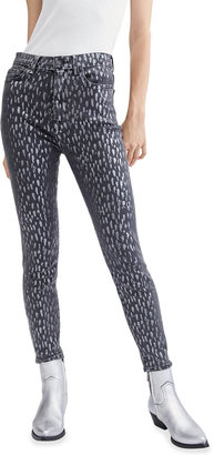 7 For All Mankind High-Rise Skinny Foil-Print Jeans