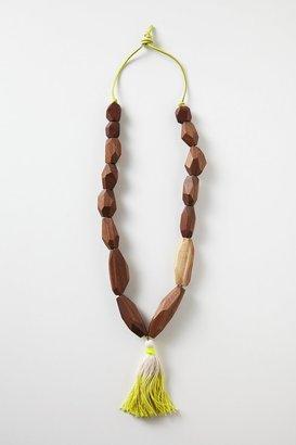 Anthropologie Carved Wood Tassel Necklace