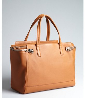 Salvatore Ferragamo tobacco pebbled leather oversized tote bag