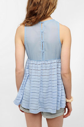 Urban Outfitters Pins And Needles Eyelet Babydoll Tank Top