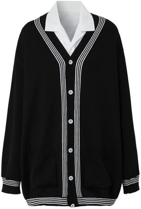 Burberry Wool Cardigan Detail Cotton Shirt