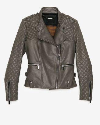 Barbara Bui Quilted Sleeve Leather Jacket: Olive