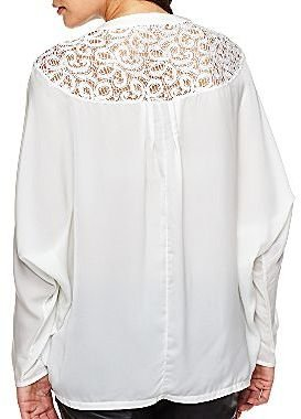 JCPenney Bisou Bisou® Button-Down Lace Insert Blouse