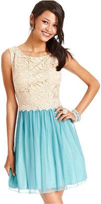 City Studios Juniors Dress, Sleeveless Lace Metallic Colorblock