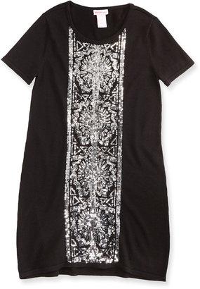 Design History Sequin Knit Shift Dress, Black
