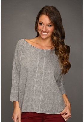 Quiksilver Drapey Pullover Fleece Top (Deep Heather Grey) - Apparel