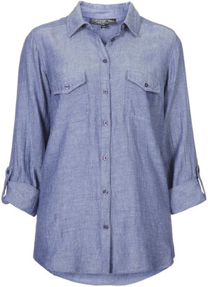 Topshop Tall casual chambray shirt