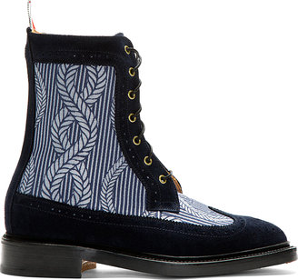 Thom Browne Navy Longwing Mariner Ankle Boots