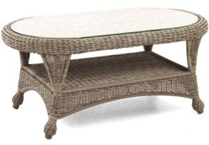"""Furniture Sandy Cove Wicker 40"""" x 22"""" Oval Outdoor Coffee Table, Created for Macy's"""