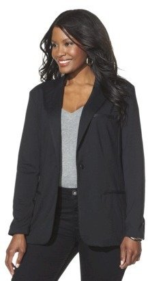 Mossimo Women's Plus-Size Ponte Blazer with Faux Leather Trim - Black