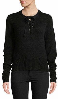 Autumn Cashmere Lace Up Cashmere-Blend Sweater