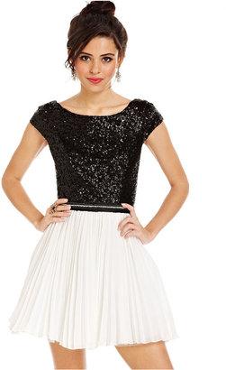 Trixxi Juniors Dress, Cap Sleeve Sequin Colorblock A-Line
