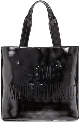 Moschino North-South Embossed-Logo Patent Tote, Black