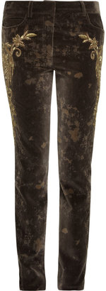 Roberto Cavalli Embroidered velvet pants