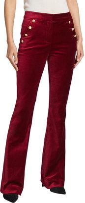Veronica Beard Verity Velvet High-Rise Button Pants