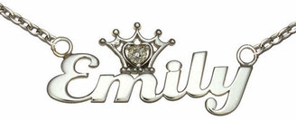 FINE JEWELRY Disney Personalized Girls Diamond-Accent Tiara Sterling Silver Name Necklace