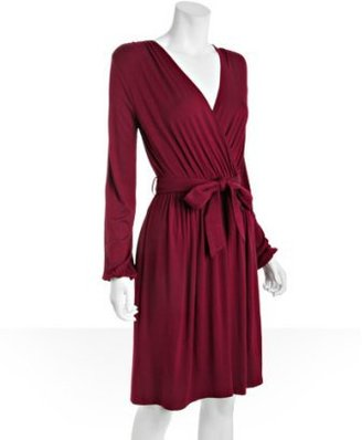 Design History wine jersey faux wrap belted dress
