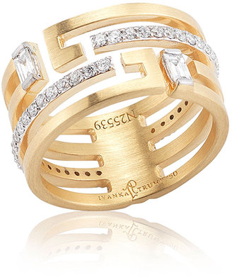 Ivanka Trump Metropolis 18k Geometric Wedding Band Ring with Deco Diamonds
