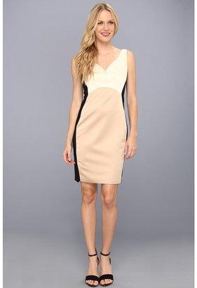 Badgley Mischka Color Block Sleeveless Dress (Gold/Black) - Apparel