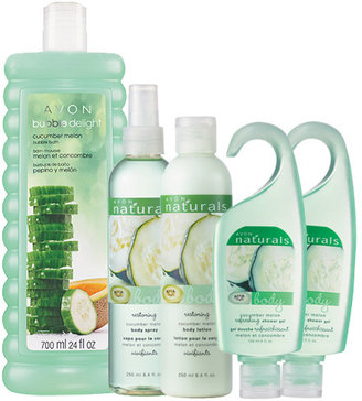 Avon NATURALS 5-Piece Cucumber Melon Bubbles to Lotion Bath Collection