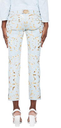 Balmain Pale Blue Leather Embossed Pants