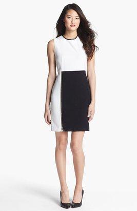 Vince Camuto Front Zip Colorblock Sheath Dress (Regular & Petite)