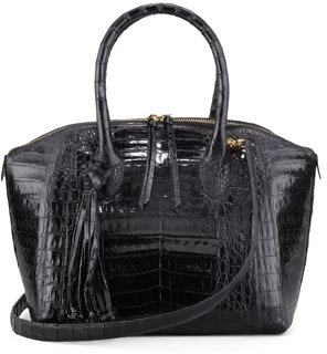 Nancy Gonzalez Small Crocodile Tassel Bowler Bag, Black