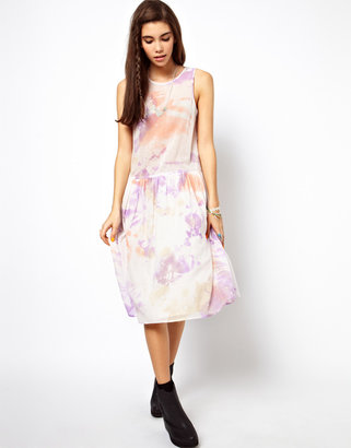 Asos Sundress With Drop Waist In Tie Dye Print