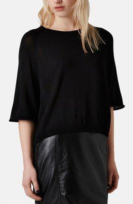 Topshop Sheer Half Sleeve Knit Pullover