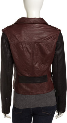 Laundry by Shelli Segal Two-Tone Wrap-Front Leather Jacket, Black/Oxblood