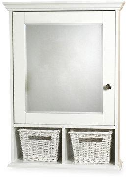 Bed Bath & Beyond White Medicine Cabinet with Wicker Baskets